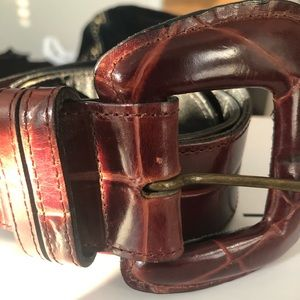 Joan and David Brown Leather Belt